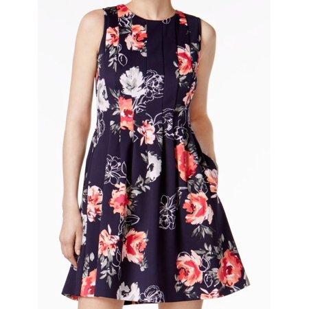 Jessica Howard NEW Blue Womens Size 12P Petite Floral Scuba A-Line Dress