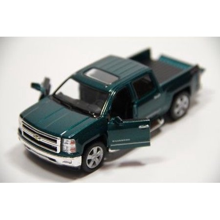 "5"" Kinsmart 2014 Chevrolet Silverado Truck Diecast Model Toy 1:46 Chevy - GREEN"
