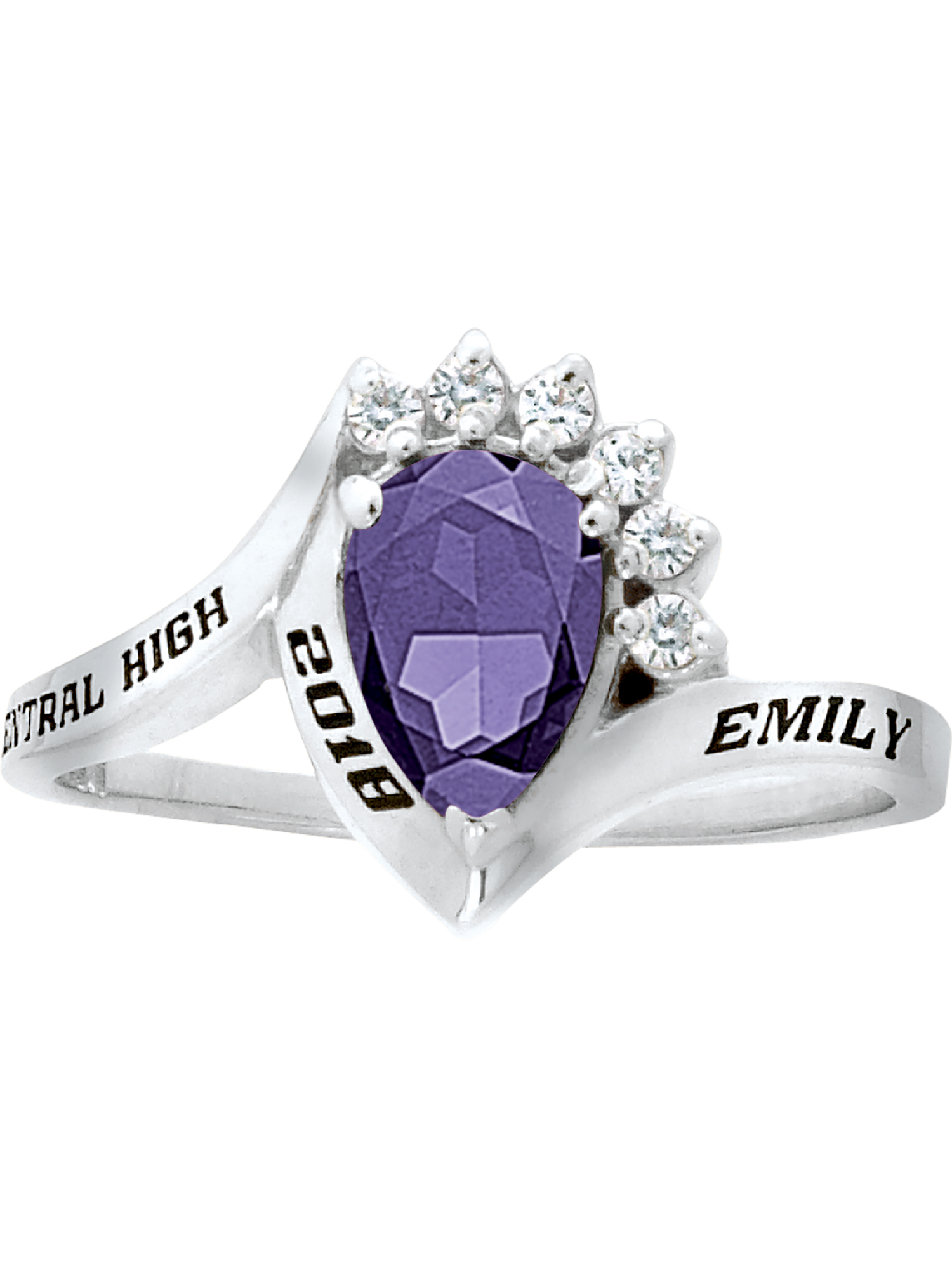 Keepsake Personalized Women's Princess Fashion Class Ring available in Silver Plus, 10kt and 14kt Yellow and White Gold