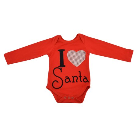 Unique Baby Baby-Girls I Love Santa Themed Onesie (L 18-24 months) - Santa Onesie