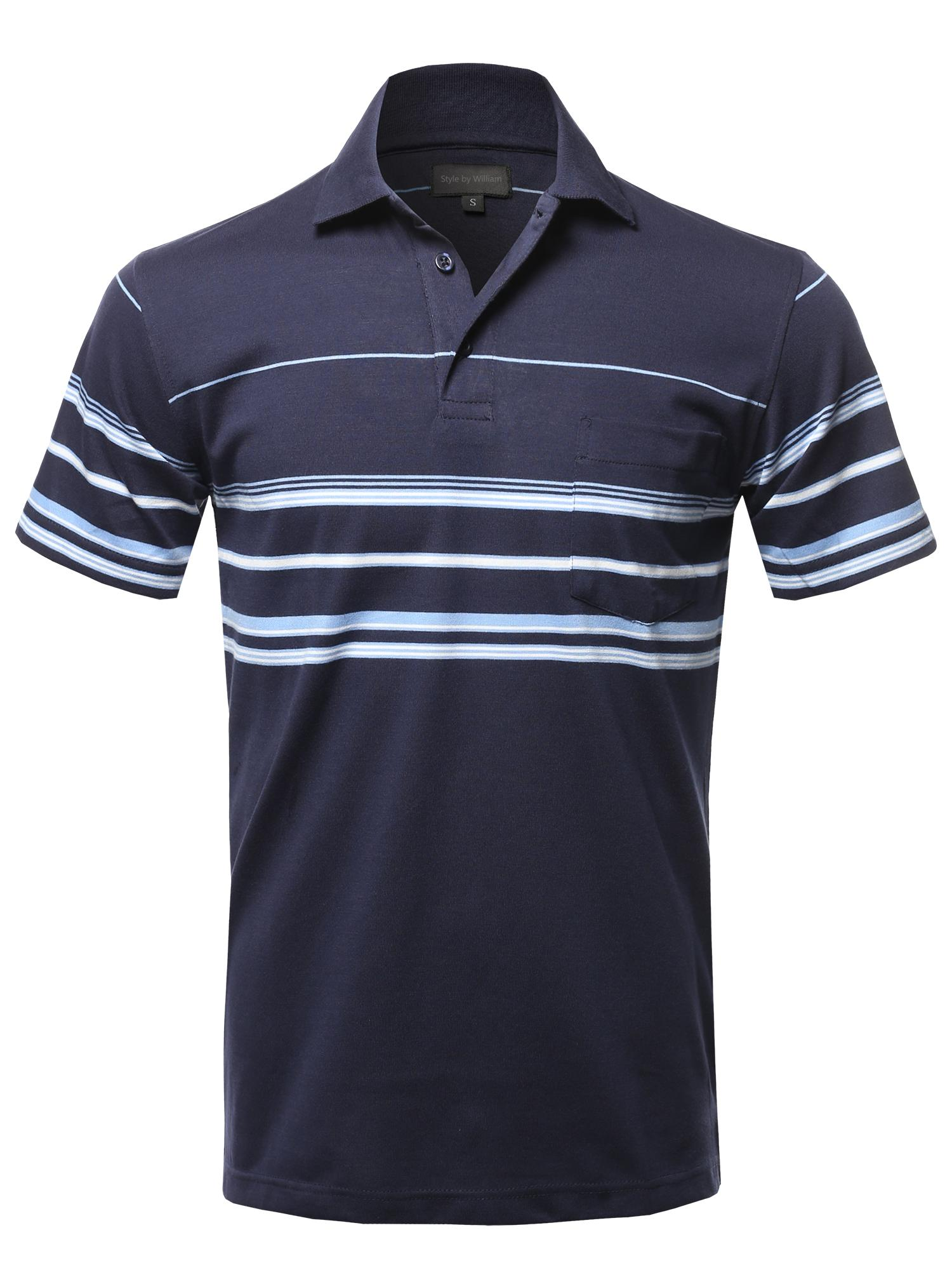 FashionOutfit Men's Casual Comfortable Basic Striped Chest Pocket Short Sleeve Polo T-Shirt