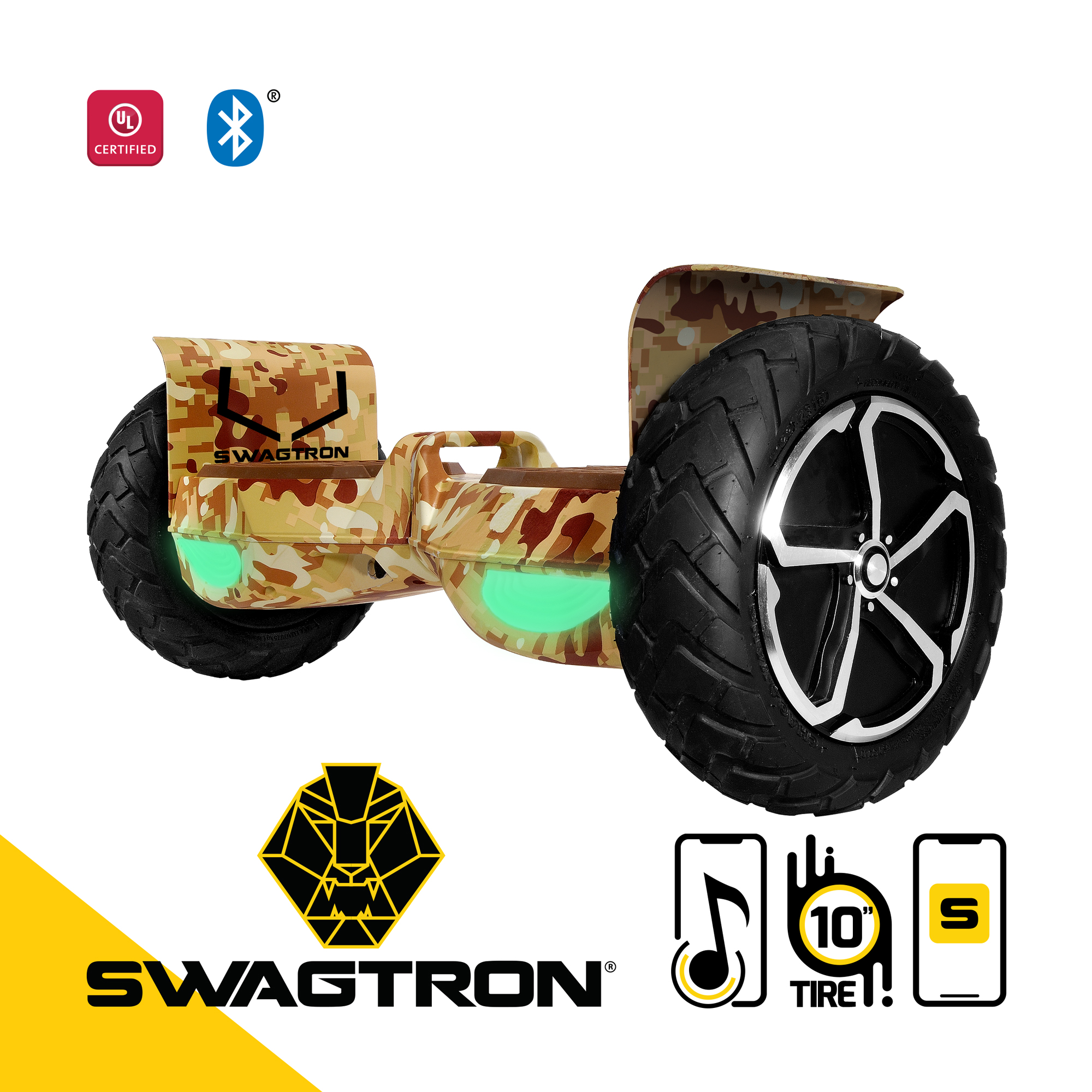 """SWAGTRON Swagboard Outlaw Off-Road T6 Hoverboard - Handles Over 380 LBS, Up to 12 MPH, Bluetooth Speaker, 10"""" Wheel"""