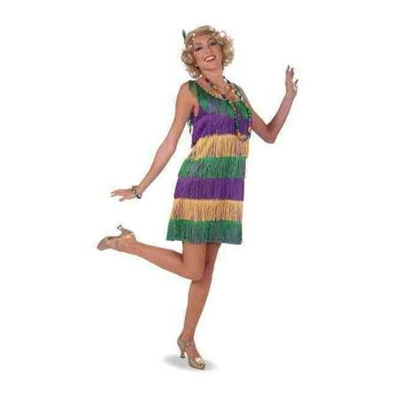 Mardi Gras Frisky Flapper Women's Costume Dress Green Purple Gold Fringe Adult - image 1 of 1
