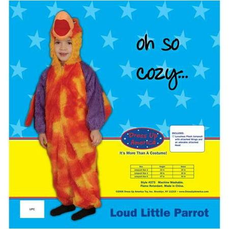 Dress Up America 273-10 Loud Little Parrot Costume Set - Size 10](Pierrot Costume)