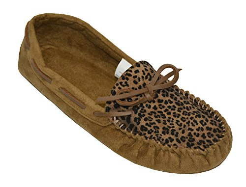 SG Footwear Ladies Animal Print Brown) Microsuede Moccasin Slipper (L(9/10, Brown) Print bc1335