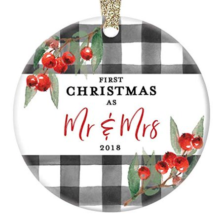 Friends Holiday Gift (Mr. & Mrs. Ornament Newlyweds 1st First Christmas Married Wed 2019 Porcelain Keepsake Present for Family Member Relative Friends 3
