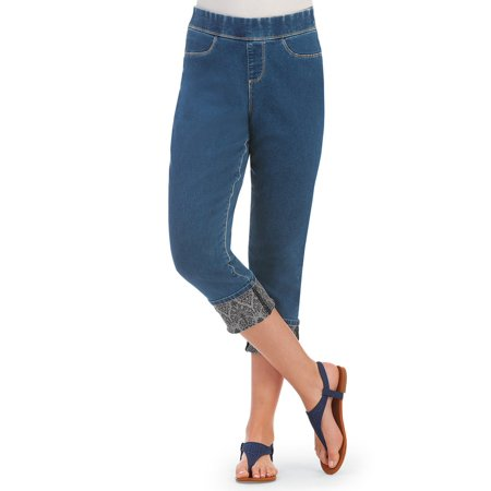 (Women's Elastic Waist Denim Capri Pull-on Pants with Printed Roll Cuff, Medium, Indigo Blue)