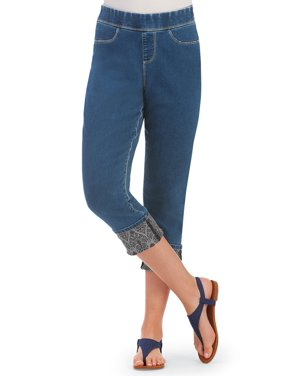 766af304130 Product Image Women s Elastic Waist Denim Capri Pull-on Pants with Printed  Roll Cuff