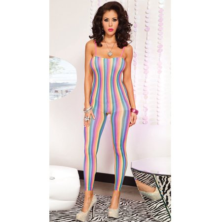 Footless Bodystocking (MUSIC LEGS Women's Spandex Opaque Footless Rainbow Stripes Crotchless Bodystocking, Rainbow, One)