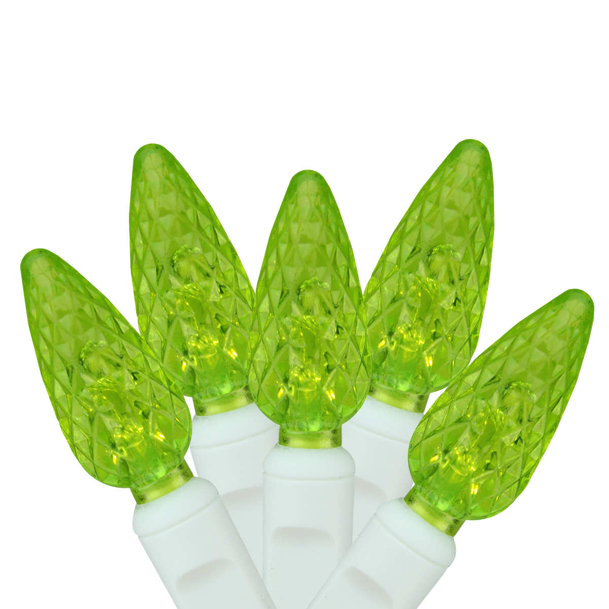 "Set of 100 Lime Green LED C6 Christmas Lights 4"" Spacing - White Wire"