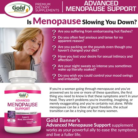 Gold Banner Advanced Menopause Support - Natural Menopause Relief for Hot  Flashes, Night Sweats, Mood Swings & Vaginal Dryness - Black Cohosh, Soy