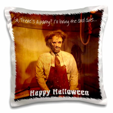 Food To Bring To A Halloween Party (3dRose Happy Halloween Texas style, gruesome villan offers to bring cold cuts to your Halloween Party, Pillow Case, 16 by)