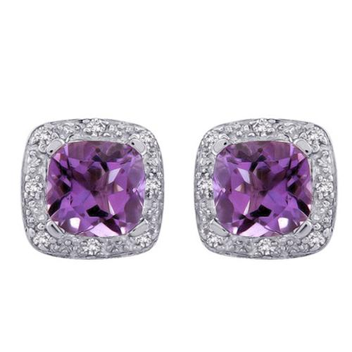 Purple Amethyst Sterling Silver Cushion Studs Earrings with 0.06 Ct White Diamonds