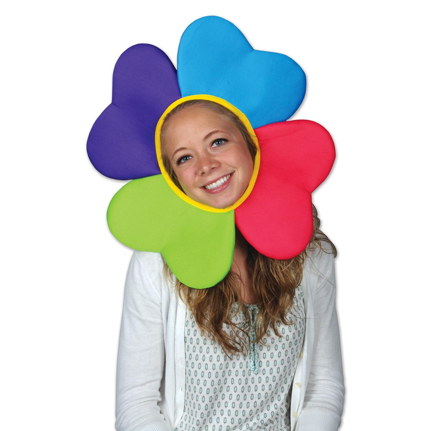 Pack of 6 Multi-Color Petals Plush Flower In the Garden Party Hat