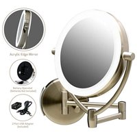 Ovente MLW75BR 7.5 Inch LED Lighted Wall Mount Makeup Mirror, 1x/10 Magnification, Nickel Brushed
