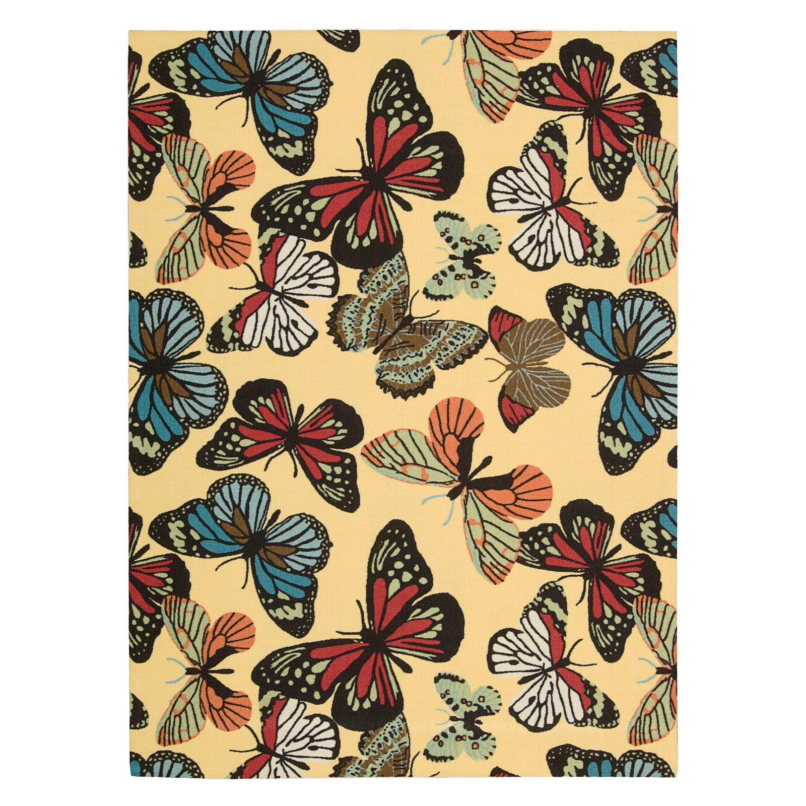 Home and Garden Butterfly Indoor Outdoor Area Rug by Nourison, Yellow by Nourison