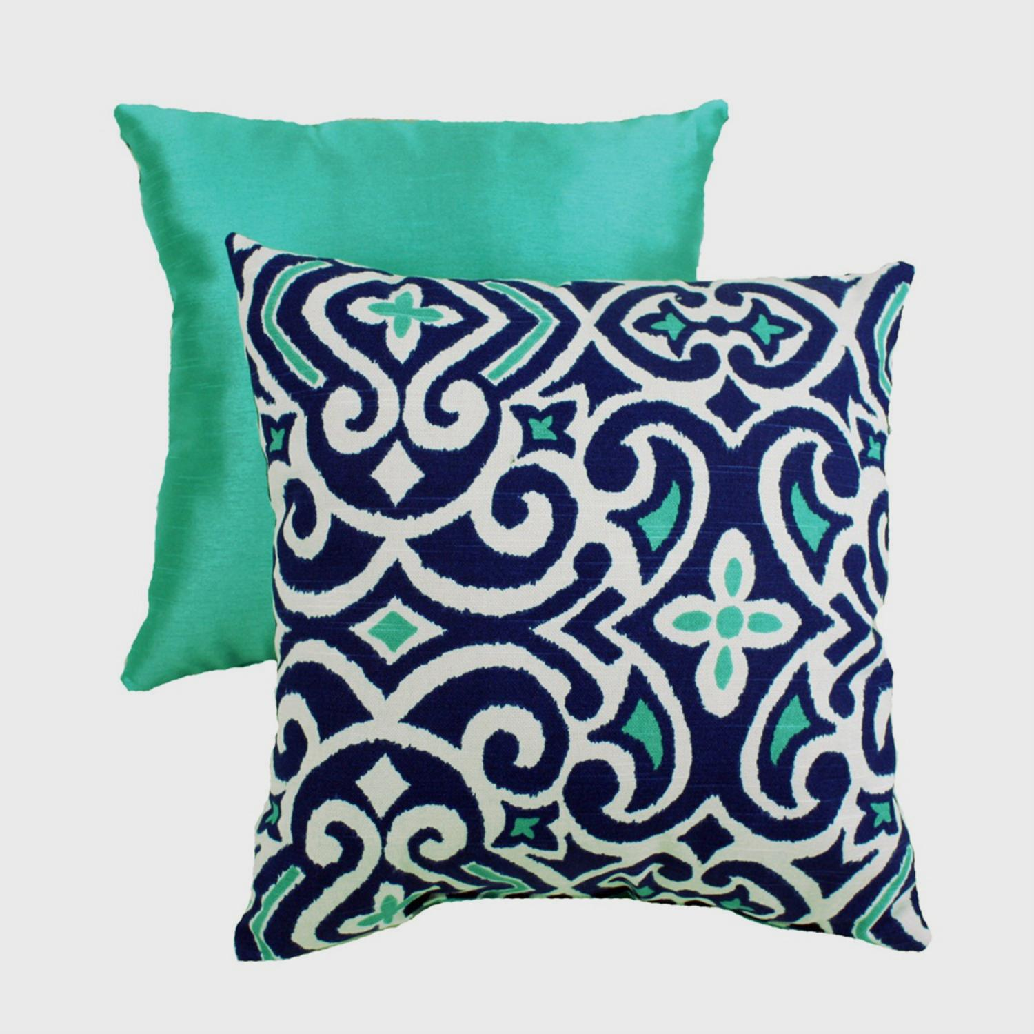 "15"" Moroccan Flair Seafoam Green and Midnight Blue Damask Decorative Throw Pillow"