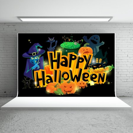 GreenDecor Polyester Fabric 7x5ft Happy Halloween Backdrops Photography Cartoon Smiley Pumpkin Witch Ghost Photo Booth Props for Children - Halloween Photo Booth Backdrop