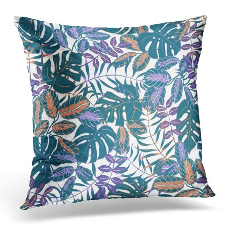 CMFUN Foliage Graphical Artistic Colorful Tropical Leaves Split Leaf Philodendron Palm Modern Jungle Nature Pillow Case Pillow Cover 20x20 inch](Jungle Leaf)