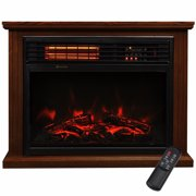 "28"" Electric Fireplace 1500W 3D Embedded Insert Heater with Cabinet, Walnut"