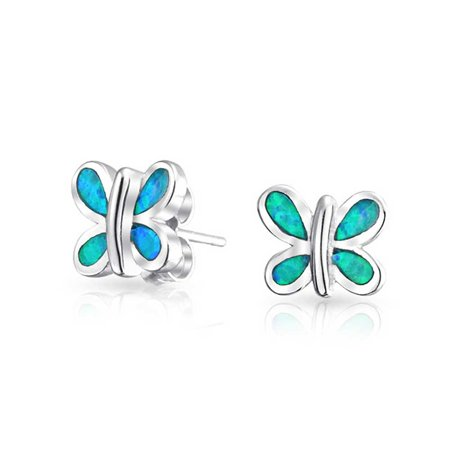 Tiny Garden Inlay Blue Created Opal Butterfly Stud Earrings For Women For Teen 925 Sterling Silver October Birthstone