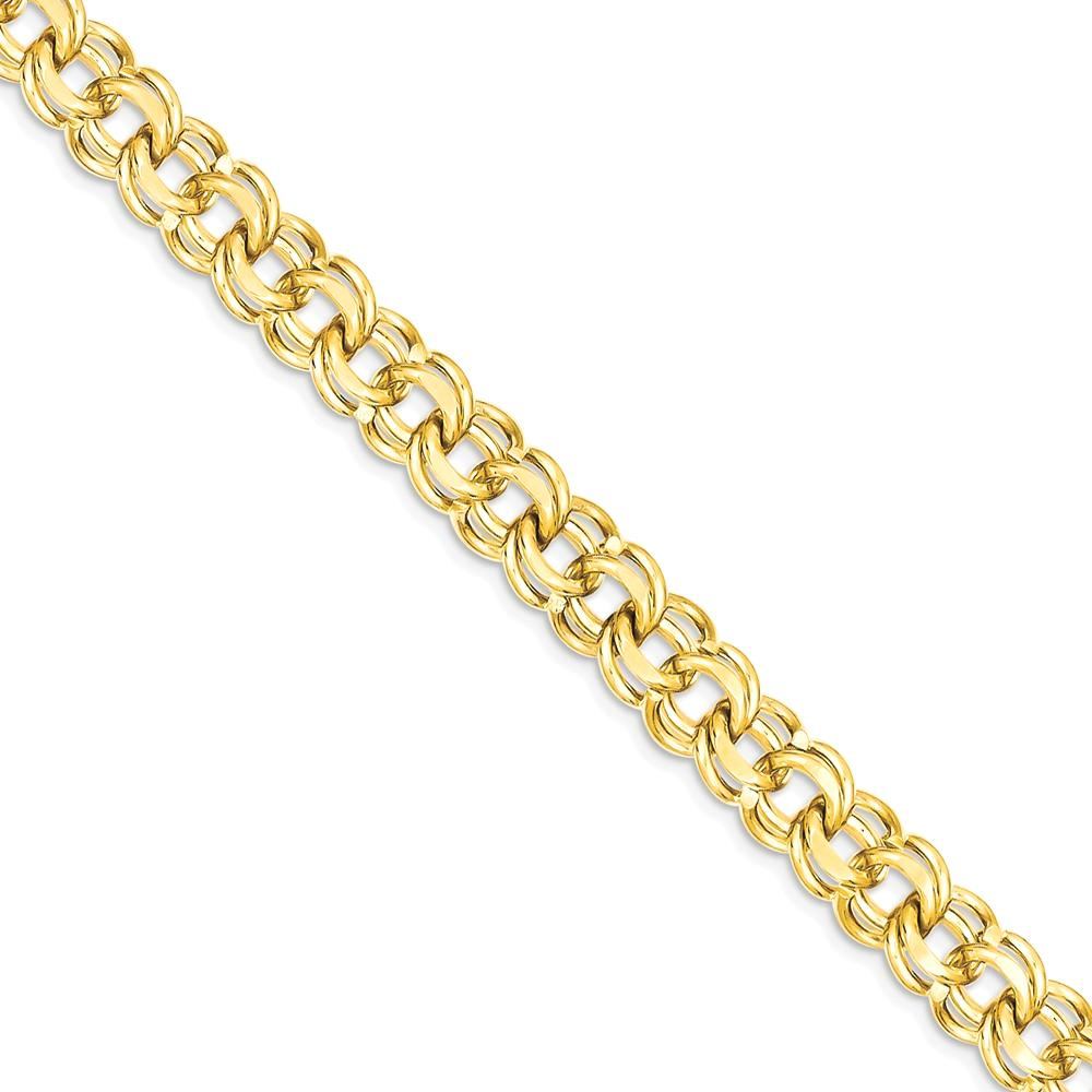 ICE CARATS 14kt Yellow Gold 8 Inch 7.5mm Solid Double Link Charm Bracelet Fine Jewelry Ideal Gifts For Women Gift Set... by IceCarats Designer Jewelry Gift USA