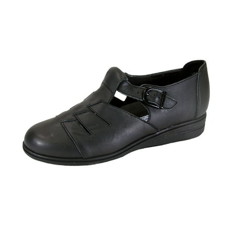 24 HOUR COMFORT Mara Wide Width Casual T-Strap Leather Shoes BLACK -