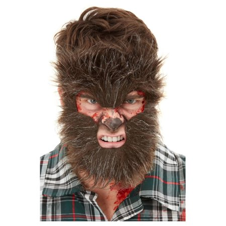 Halloween Faces With Regular Makeup (Brown Werewolf Face Fur with Adhesive Unisex Adult Halloween Make-Up FX Costume)