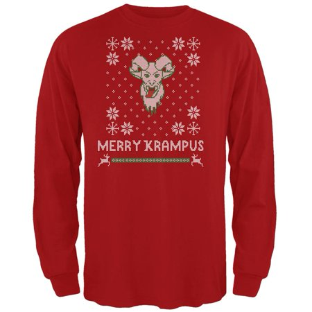 Christmas Merry Krampus Ugly Xmas Sweater Red Adult Long Sleeve T-Shirt