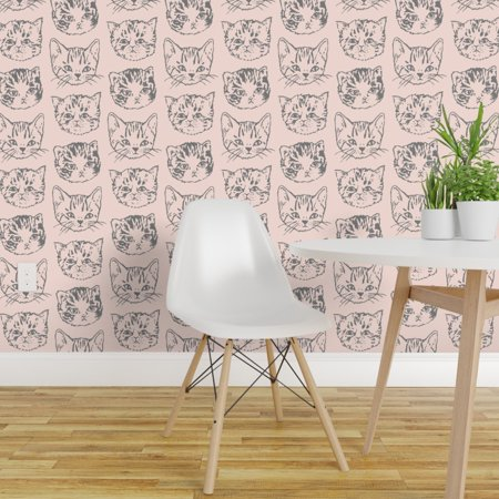 Peel and Stick Removable Wallpaper Cat Kitty Kitten Cute Peach Grey An