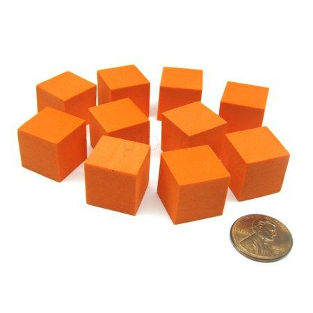 Koplow Games Pack of 10 16mm Blank Foam Dice Cubes with Square Corners - Orange #16801 (Foam Cubes)