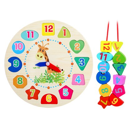Educational Baby Wooden Clock Beaded Beads Toy Toddler Infant Intelligence Toys ()