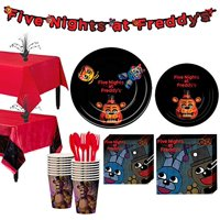 Five Nights at Freddy's Tableware Party Supplies for 16 Guests, Include a Banner
