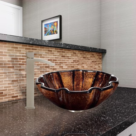 VIGO  Walnut Shell Glass Vessel Sink and Duris Faucet Set in Brushed Nickel Finish ()