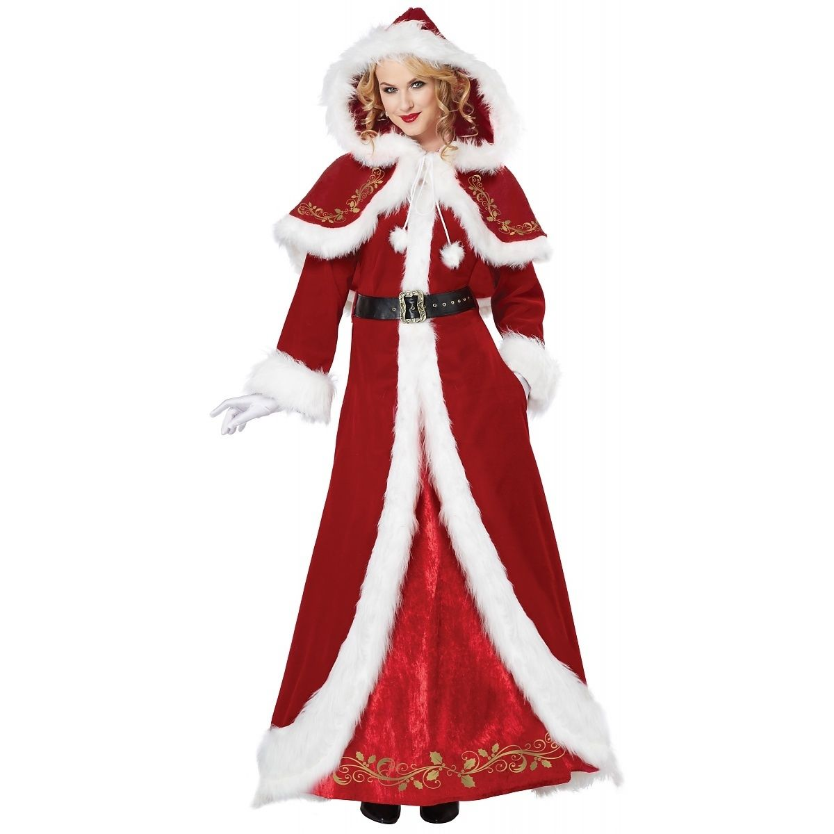 deluxe mrs claus adult costume dress red green christmas santa womens sm xxl