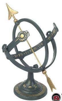 Rome Cast Iron Sundial with brass arrow Armillary Sundial by