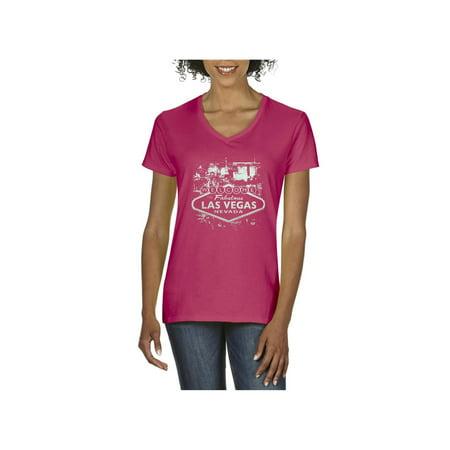 Las Vegas Hawaiian Shirt (Welcome to Las Vegas Nevada Women's V-Neck T-Shirt Tee Clothes )