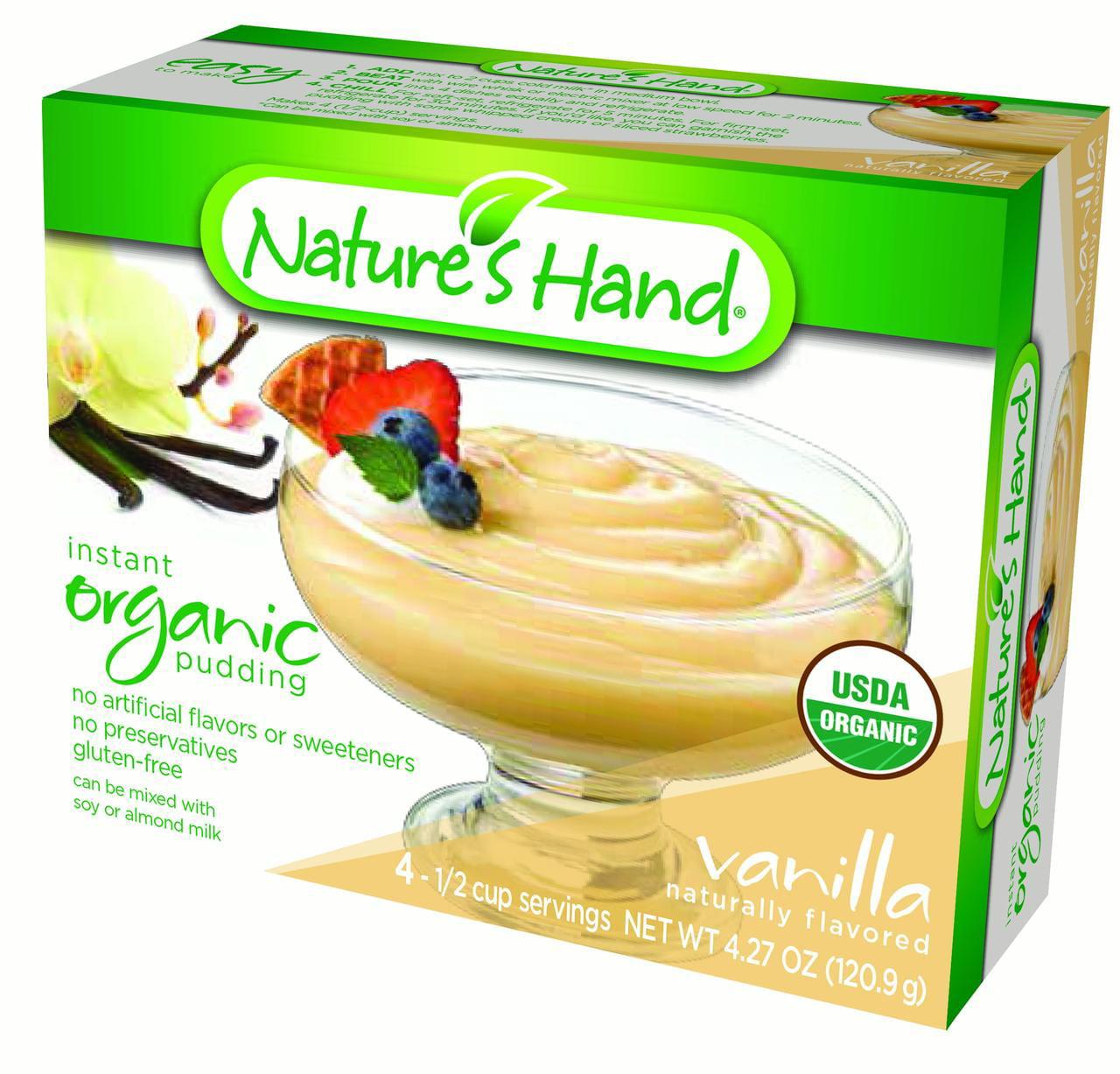 (3 Pack) NATURE'S HAND Organic Pudding, Vanilla, 3.72 Oz, 12 Ct