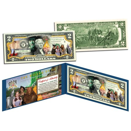 WIZARD OF OZ *Dorothy Ruby Red Slippers* Colorized $2 Bill Legal Tender LICENSED