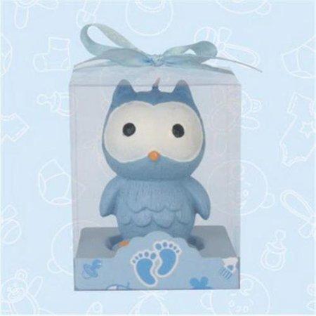 De Yi Enterprise 11010-BL Baby Shower - Cute Blue Baby Owl Candle Favor