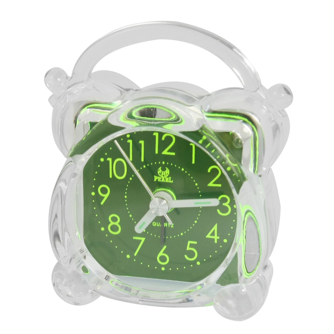 Arabic Numerals Dial Home Bedside Alarm Clock Green Clear