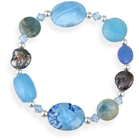 Turquoise, Quartz, Apatite, Crystal, Coin Pearl Sterling Silver Fashion Stretch Bracelet, 7.5