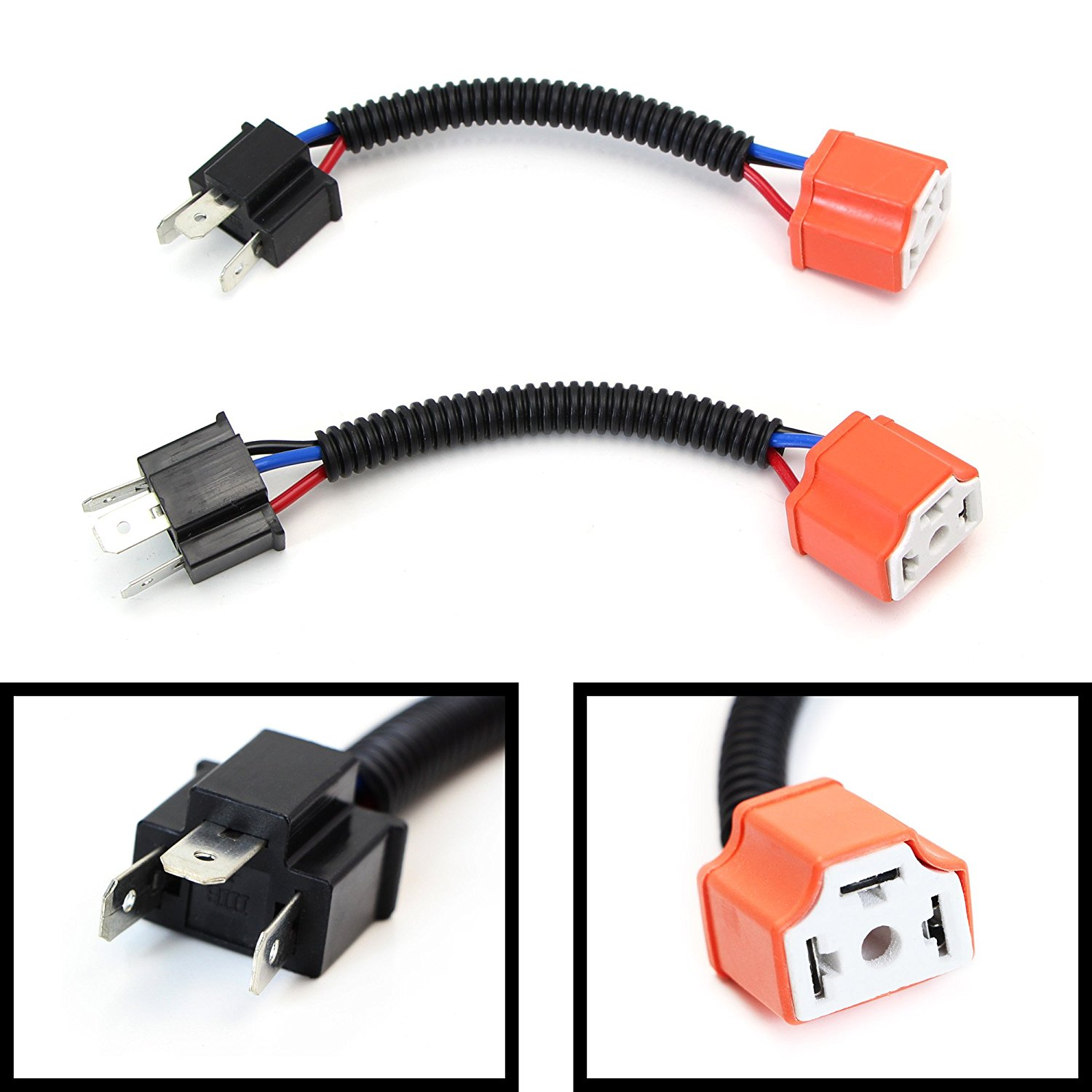 H4 High Quality Ceramic Wiring Harness Sockets Car Lamp ... H Wiring Harness Adapter Diagram on