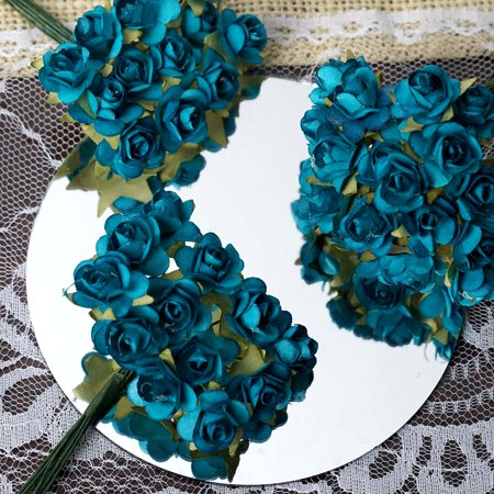 BalsaCircle 144 Craft Paper Roses - Mini Flowers for DIY Wedding Party Favors Decorations Supplies - Turquoise And Black Wedding