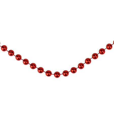Traditional Shiny Metallic Crimson Red Beaded Christmas Garland  15' x 6mm ()