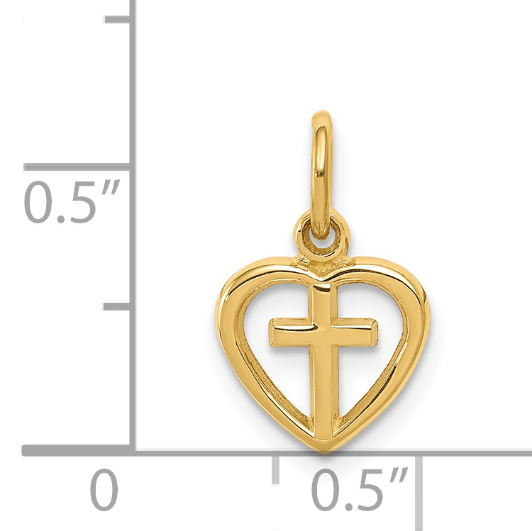 14K Yellow Gold Cross in Heart Charm - image 1 of 2