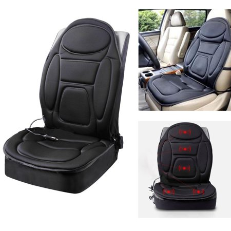 (Car Front Seat Heated Cover Hot Pad Heat Cushion Warm Gift Winter Heater Black Cloth Vehicle SUV Heated Car Pad Van Black 12V)