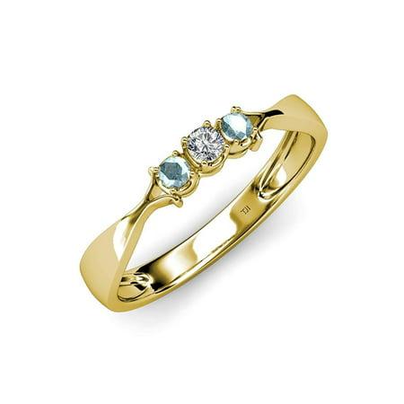 - Aquamarine and Diamond (SI2-I1, G-H) Three Stone Ring 0.17 ct tw in 14K Yellow Gold.size 9.0
