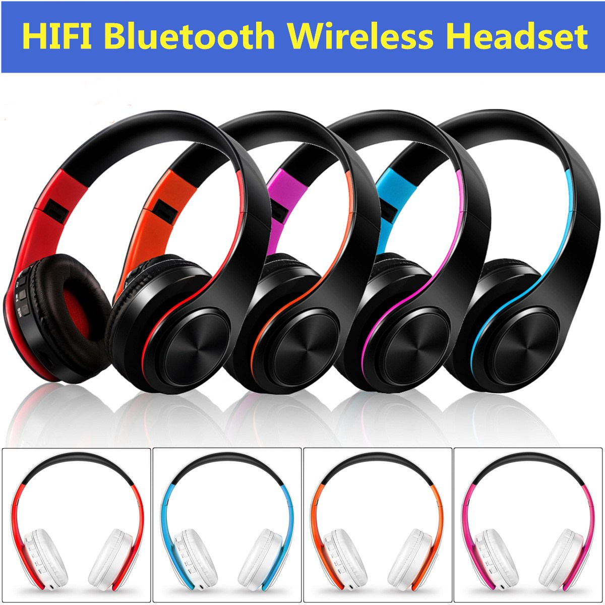 Foldable Noise Cancelling Wireless Hifi Stereo Bass Bluetooth 4.0 Sport Game Headphone Headset Over Ear Mic & FM TF card, AUX for PS4 PC Laptop Computer Cell Phones TV Soft Earmuff