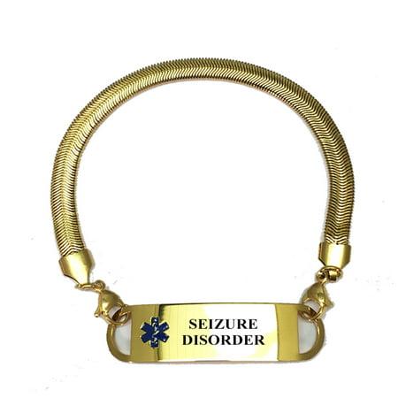 Universal Medical Data Gold Plated Chevron Pattern Seizure Disorder Alert Id Bracelets For Women